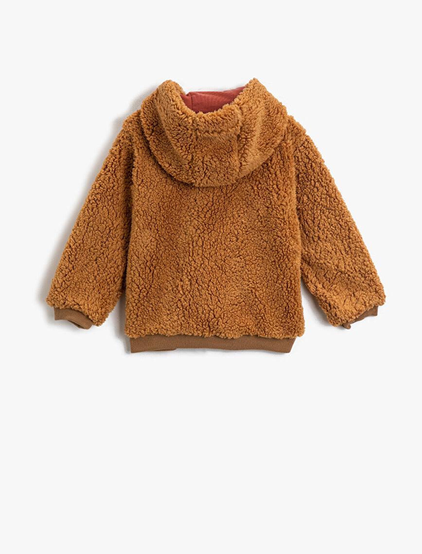 Kapüşonlu Peluş Cepli İşlemeli Sweatshirt