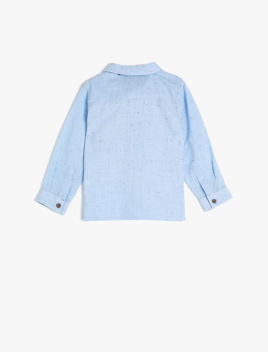 Pamuklu Kumaştan Papyonlu Uzun Kollu Klasik Gömlek