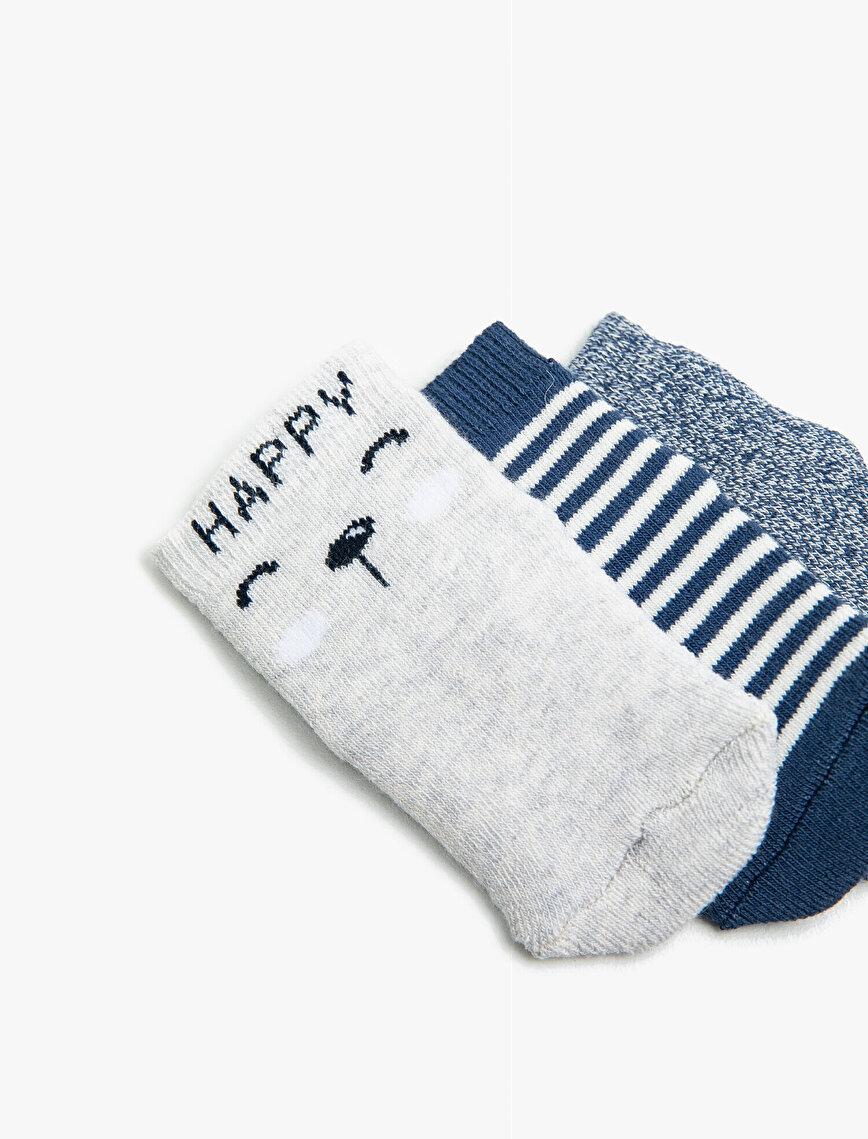 Erkek Bebek Çizgili Desenli 3'lü Çorap Set