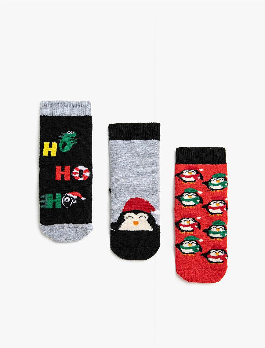 Erkek Bebek 3'lü Yeni Yıl Temalı Pamuklu Çorap Seti
