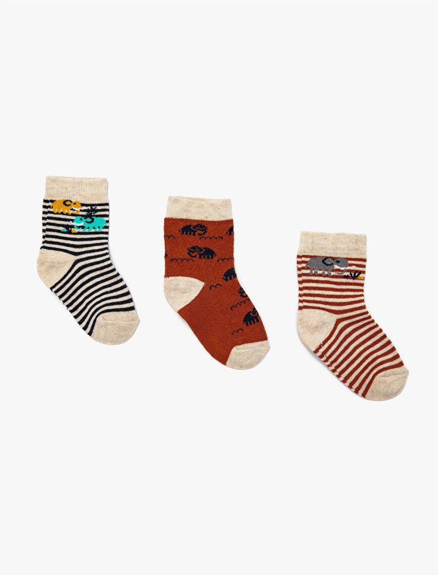 Erkek Bebek Çizgili 3'lü Çorap