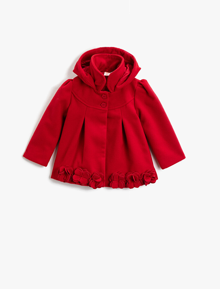 Hooded Button Detailed Floral Coat