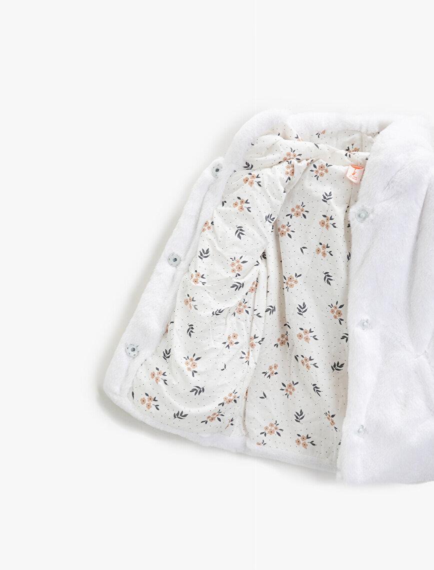Hooded Plush Zipper Detailed Coat