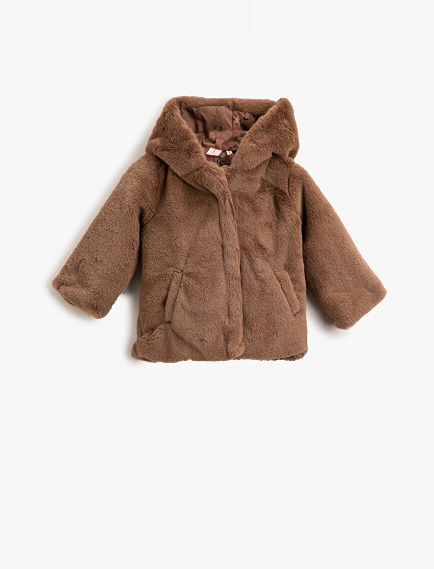 Hooded Plush Zipper Detailed Coat