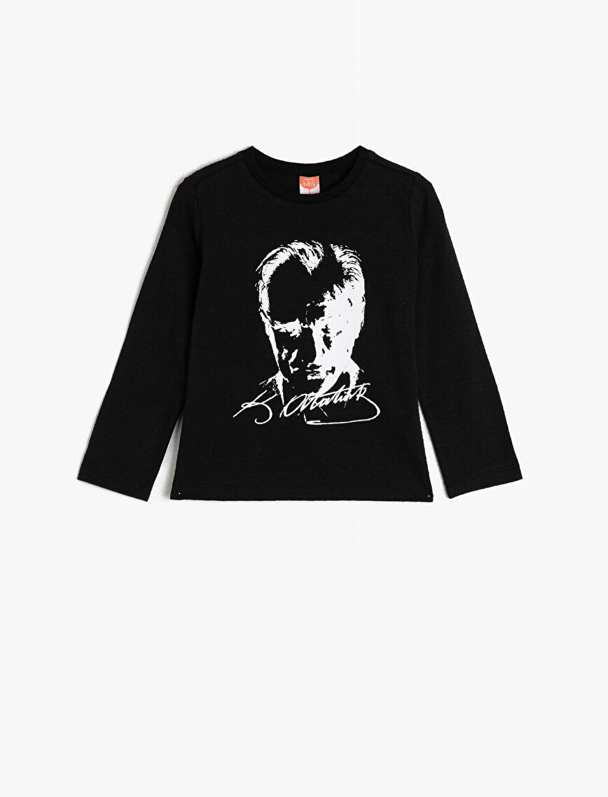 100% Cotton Atatürk Printed Crew Neck Long Sleeve T-Shirt