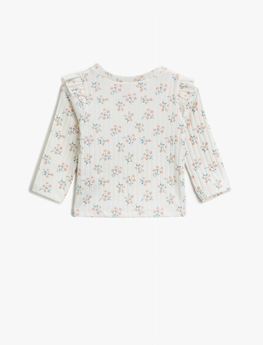 Floral Frilled Long Sleeve Crew Neck T-Shirt
