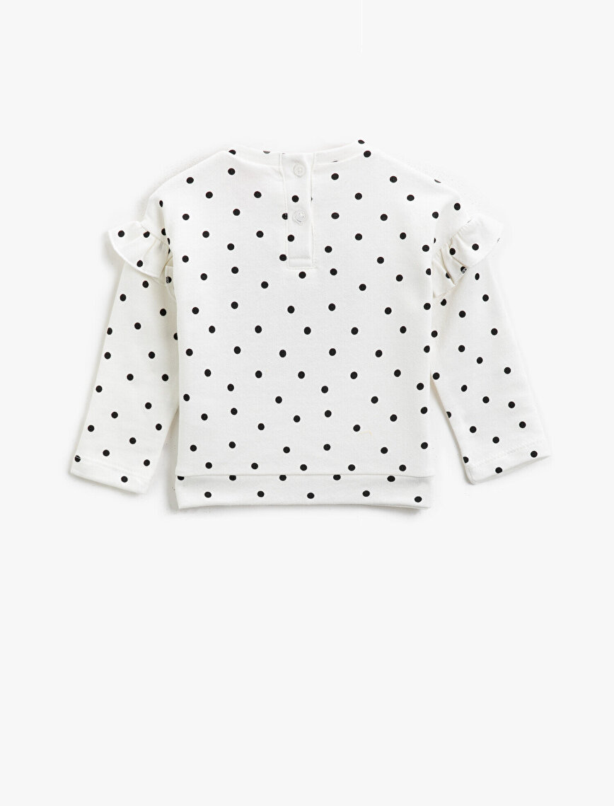 Cotton Sequinned Embellished Dotted Long Sleeve Sweatshirt