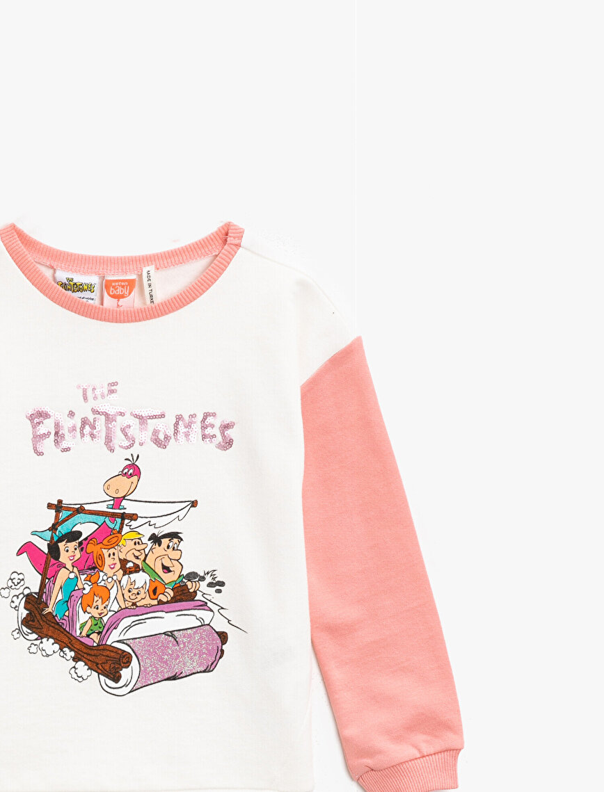 The Flintstone Licensed Sequinned Printed Crew Neck Cotton Sweatshirt