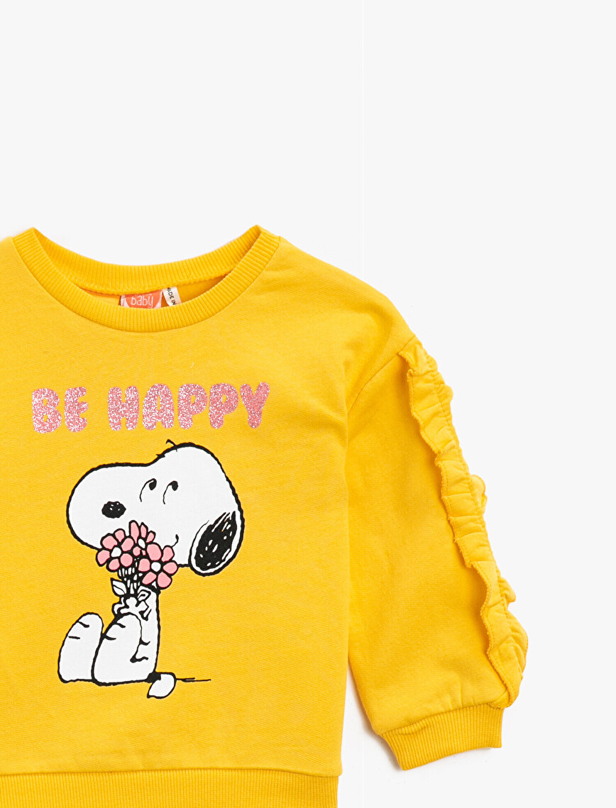 Cotton Snoopy Licensed Printed Frilled Sweatshirt