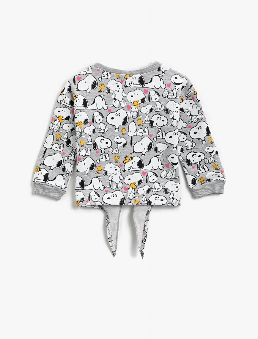 Cotton Sequinned Snoopy Licensed Printed Crew Neck Sweatshirt