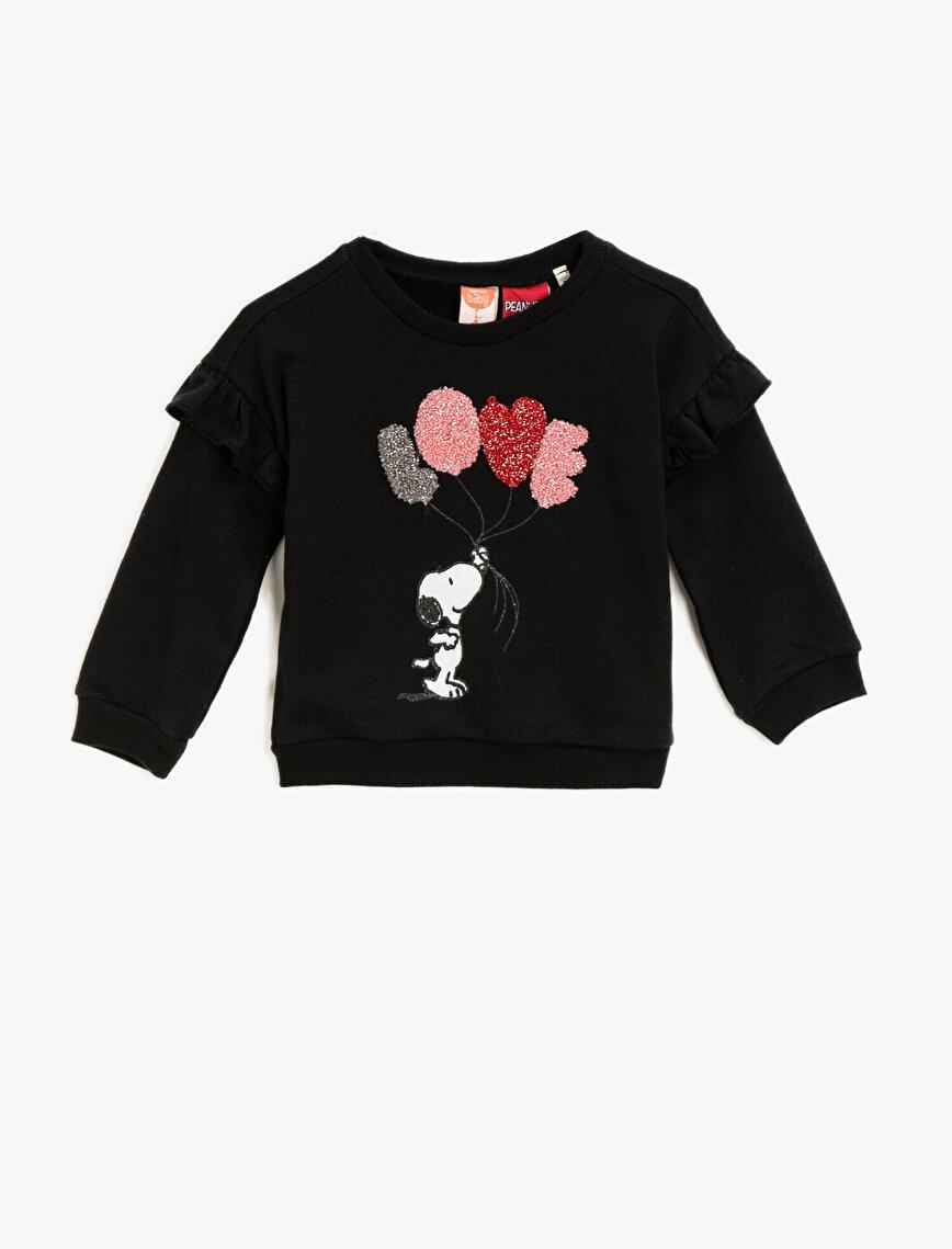Cotton Snoopy Licensed Printed Crew Neck Letter Embellished Sweatshirt