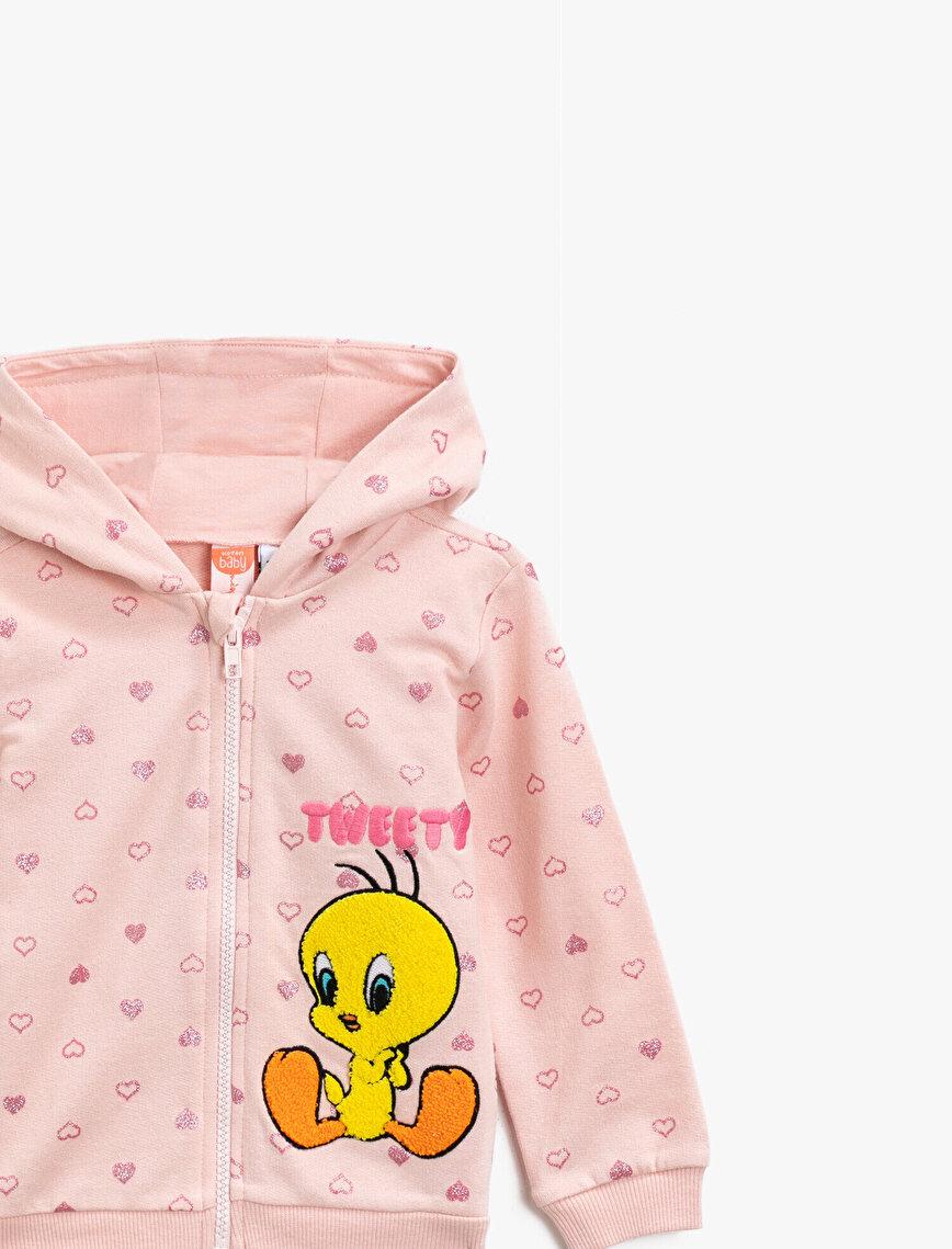 Pamuklu Tweety Lisanslı İşlemeli Kapüşonlu Baskılı Sweatshirt