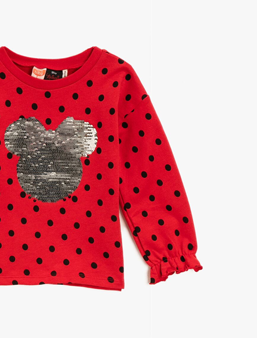 Cotton Minnie Mouse Licensed Sequinned Dotted Sweatshirt