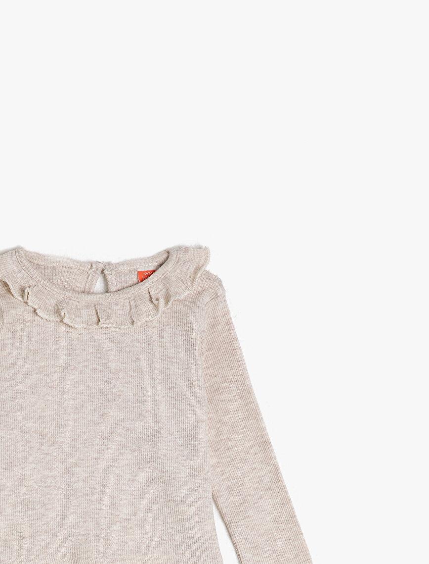 Crew Neck Long Sleeve Neck Detailed T-Shirt
