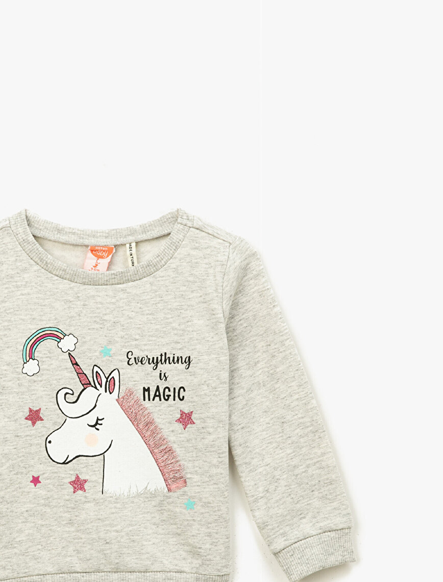 Cotton Unicorn Glitter Printed Crew Neck Long Sleeve Sweathirt