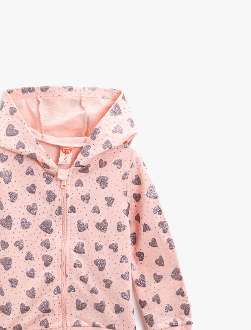 Cotton Zipper Detailed Hooded Silvery Printed Sweatshirt