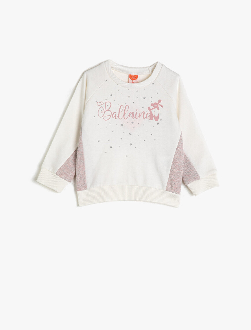 Cotton Letter Printed Crew Neck Sweatshirt