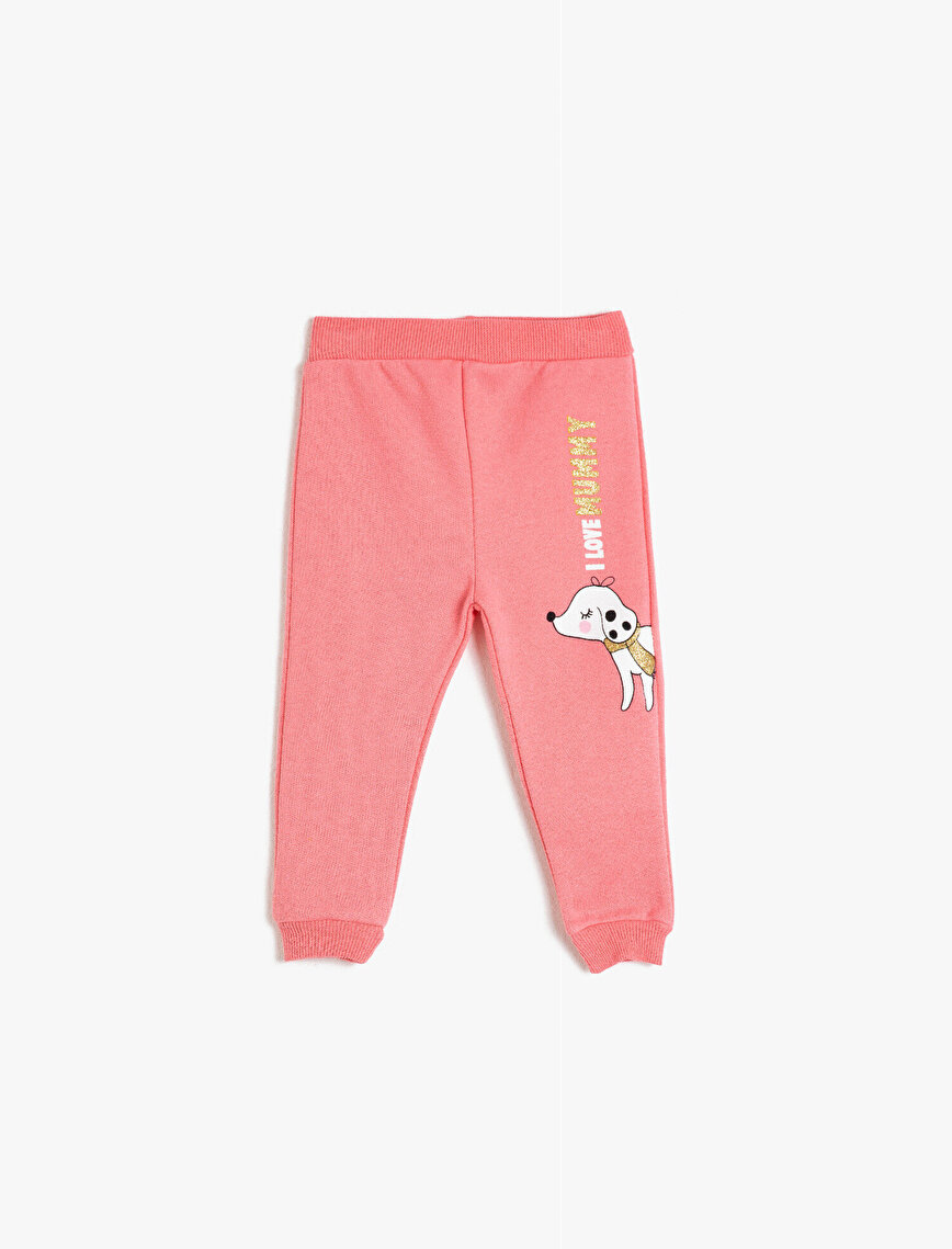 Cotton Animal Print Letter Printed Sweatpants