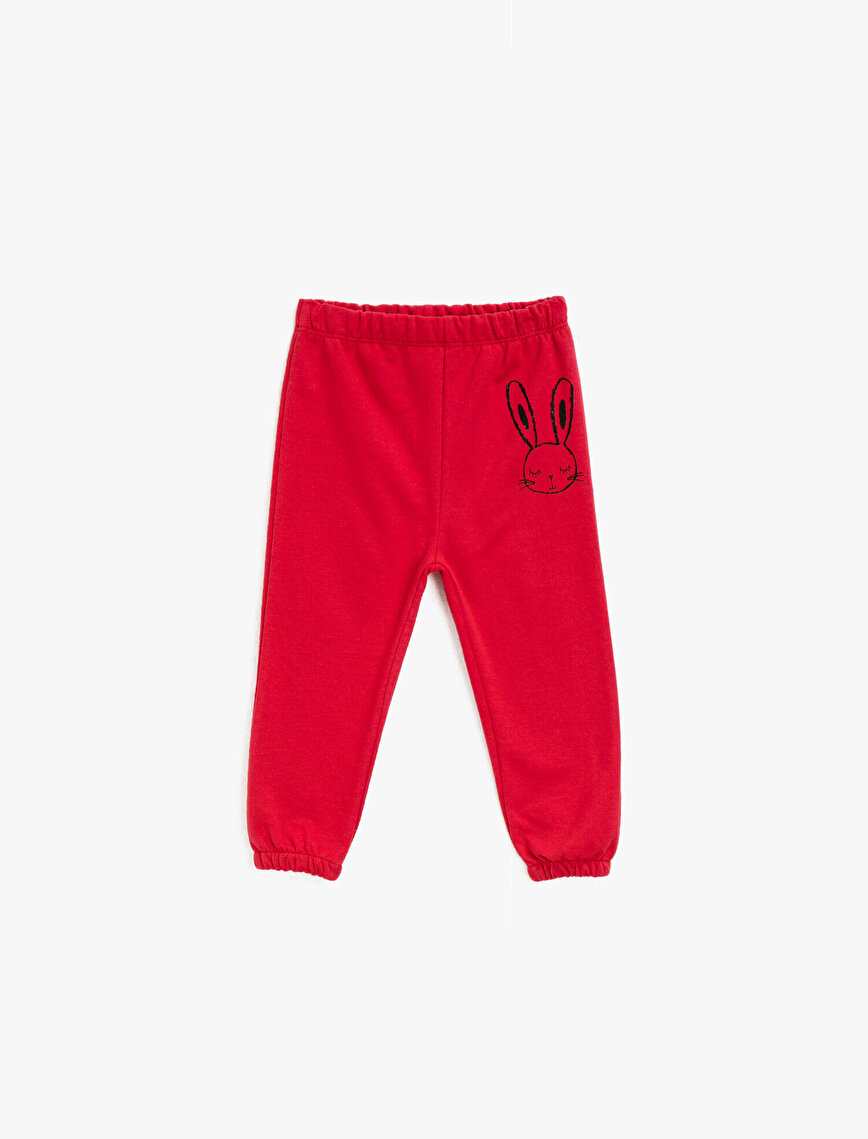Medium Rise Cotton Printed Jogging Pants