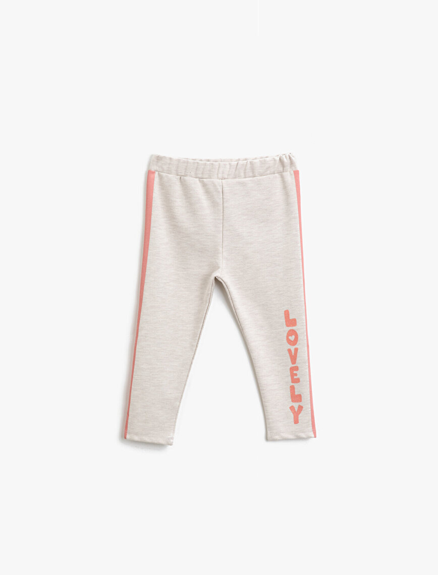 Striped Letter Printed Medium Rise Jogging Pants