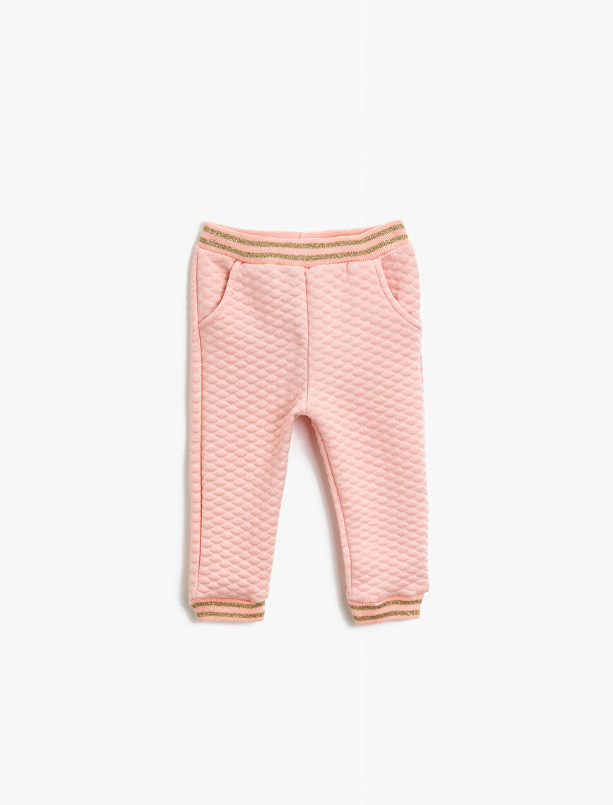 Pocket Detailed Silvery Striped Jogging Pants