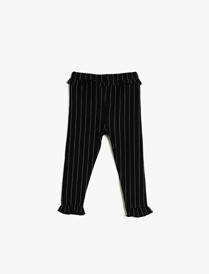 Frilled Striped Sweatpants