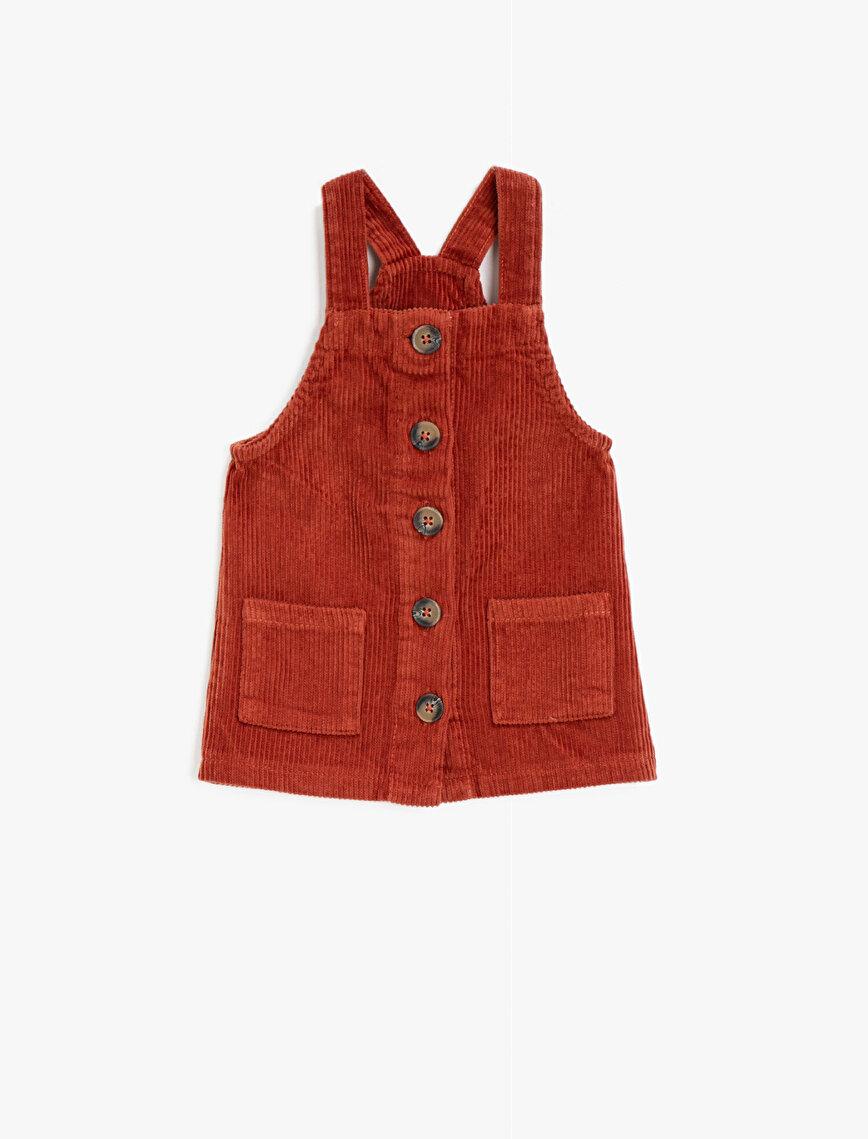 Velvet Button Pocket Detailed Cotton Dresss