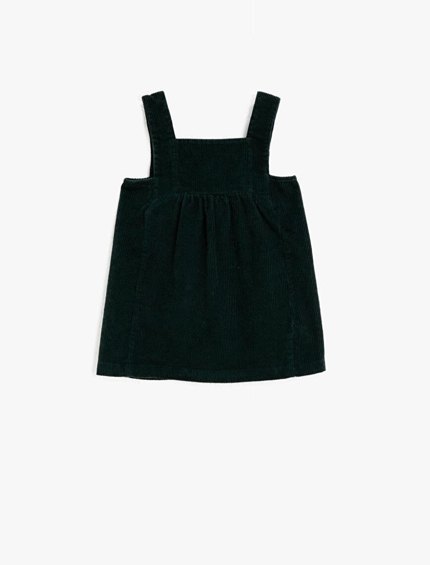 Cotton Thin Strap Velvet Dress