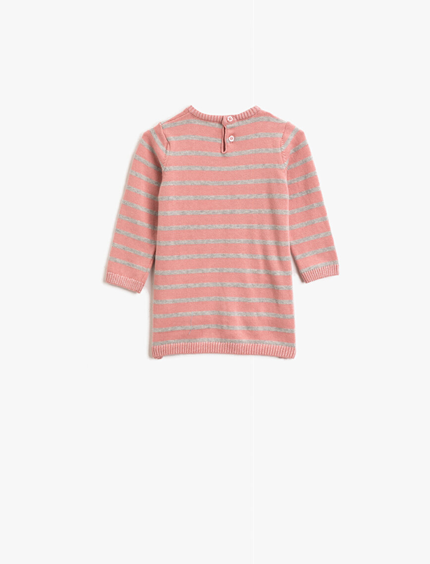 Striped Pocket Detailed Embellished Crew Neck Long Sleeve Dress