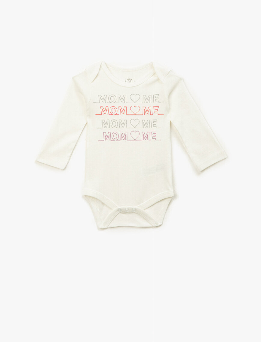 Cotton Letter Printed Long Slevee Body Suit