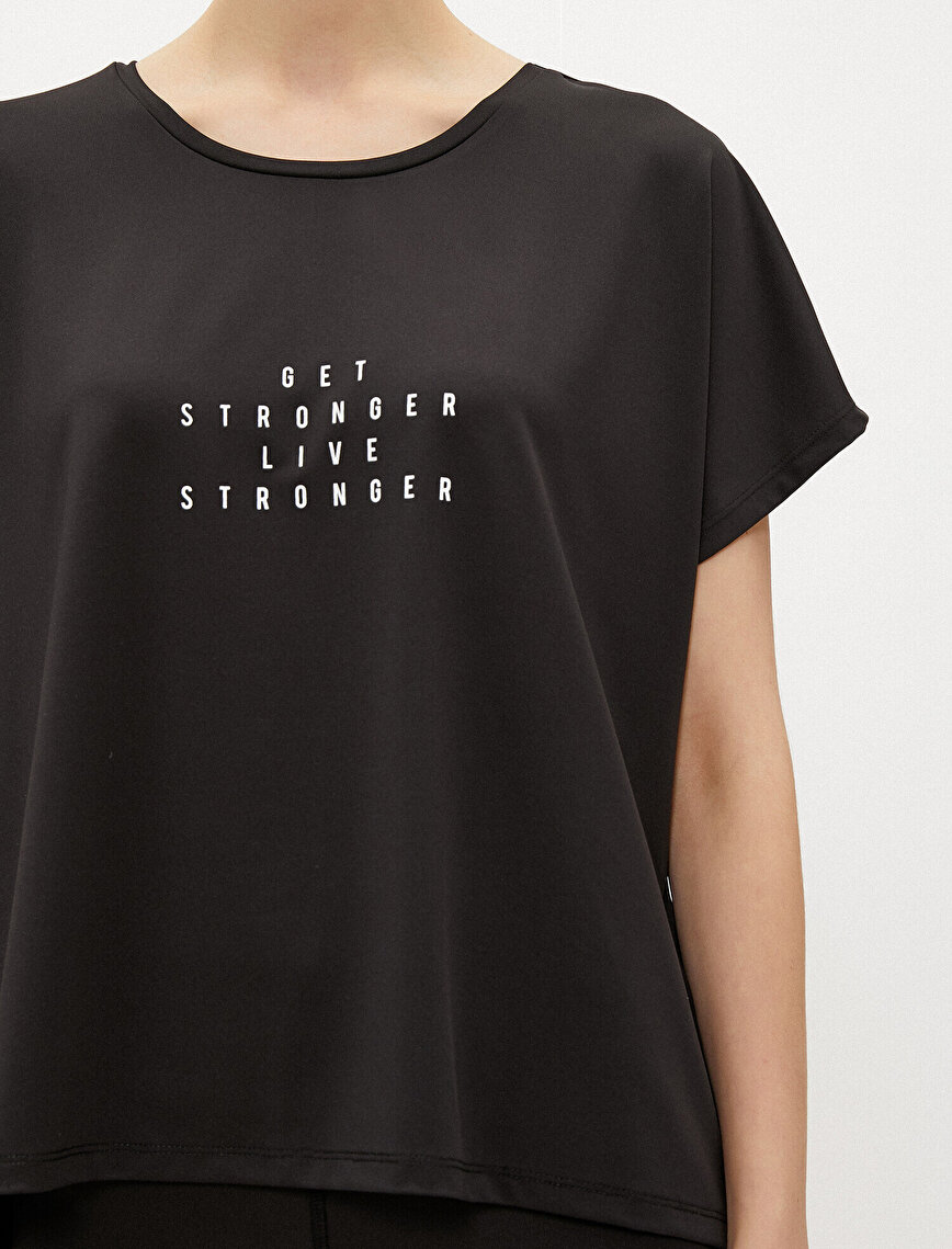 Slogan T-Shirt Crew Neck Short Sleeve
