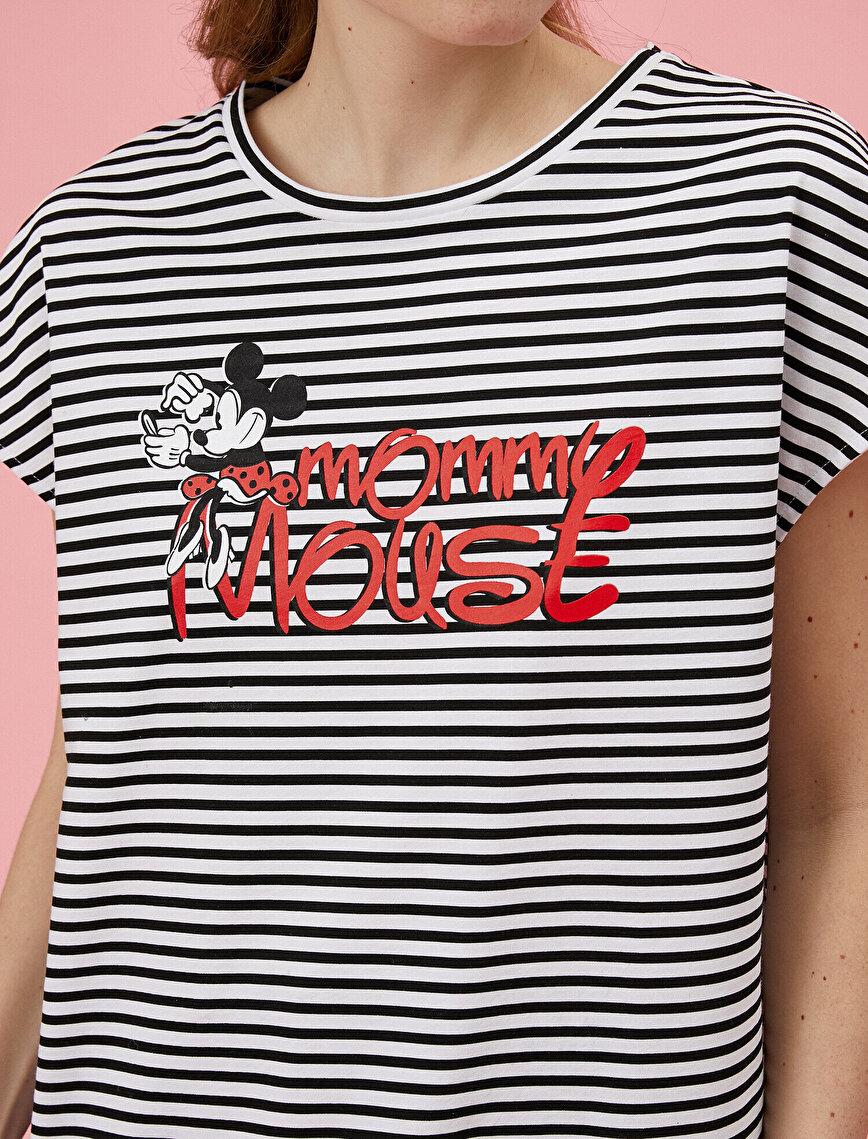 Mickey Mouse Tişört Lisanslı Çizgili Pamuklu