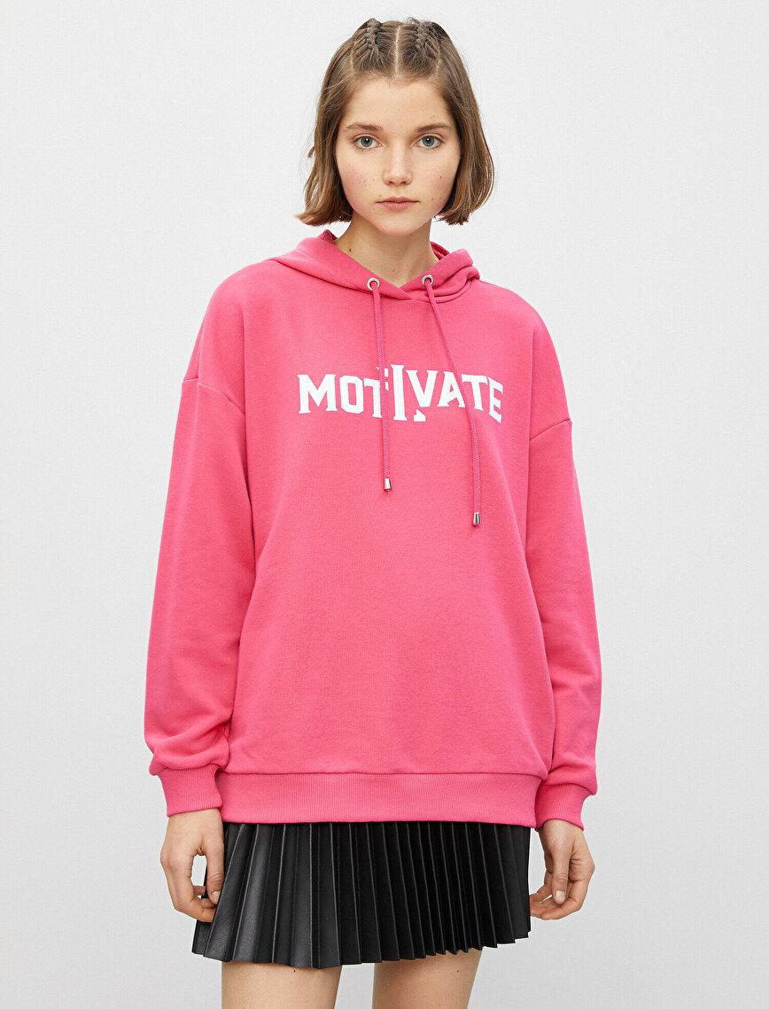 Pamuklu Kapüşonlu Yazılı Baskılı Sweatshirt