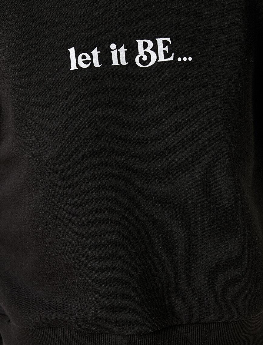 Yazılı Sweatshirt Omuz Detaylı Pamuklu