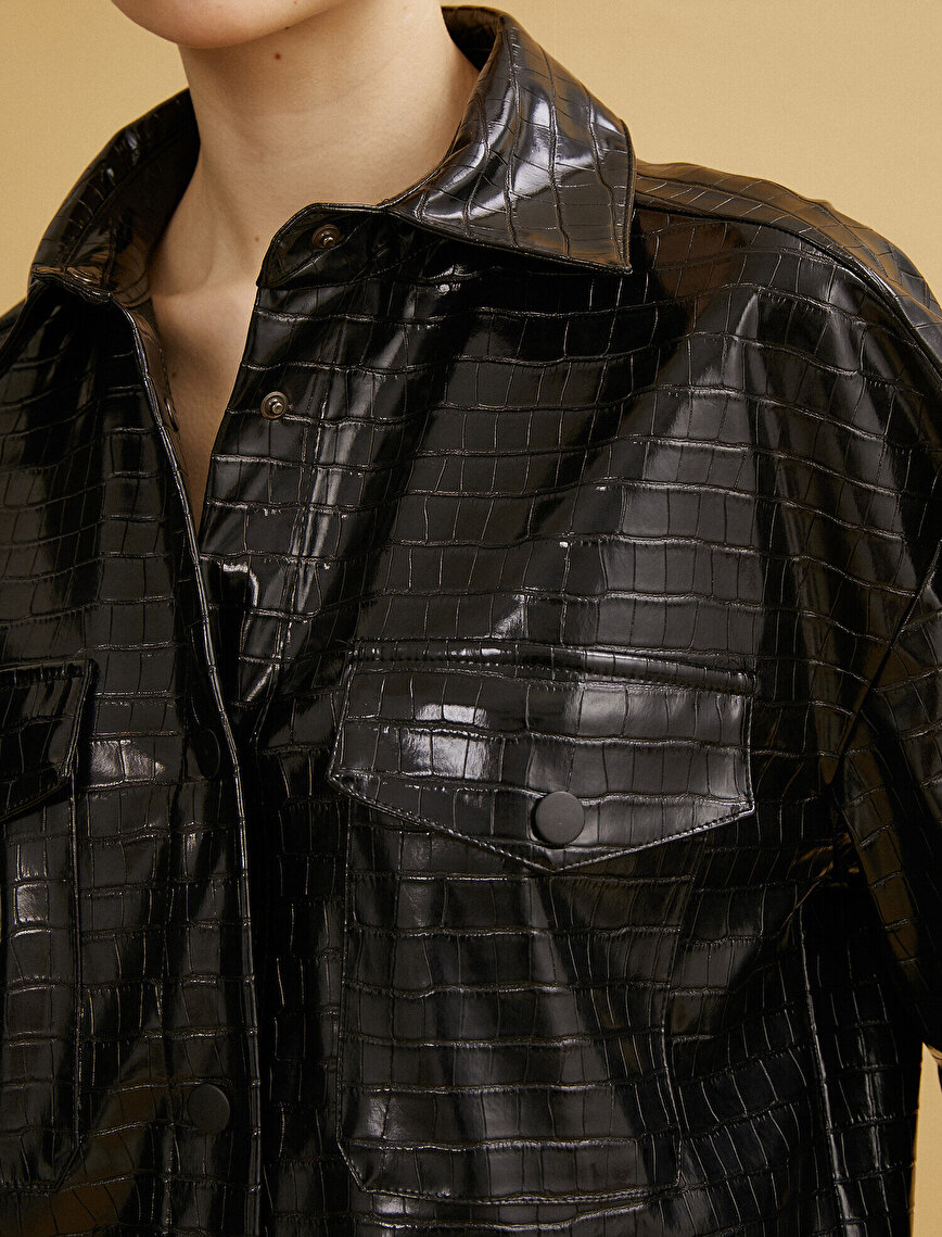 Leather Jacket Crocodile Look Pocketed