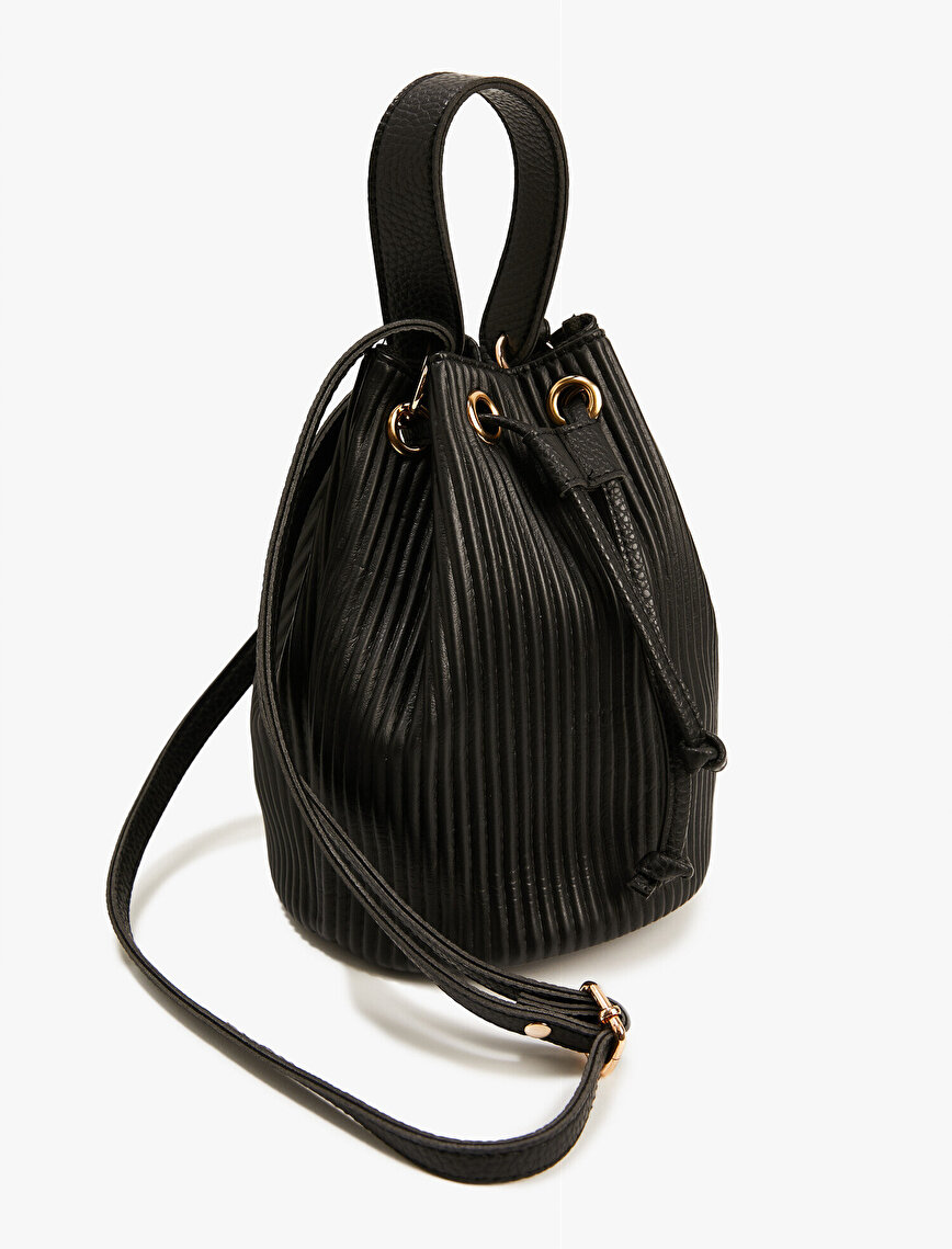 Striped Faux Leather Gathered Bucket Bag