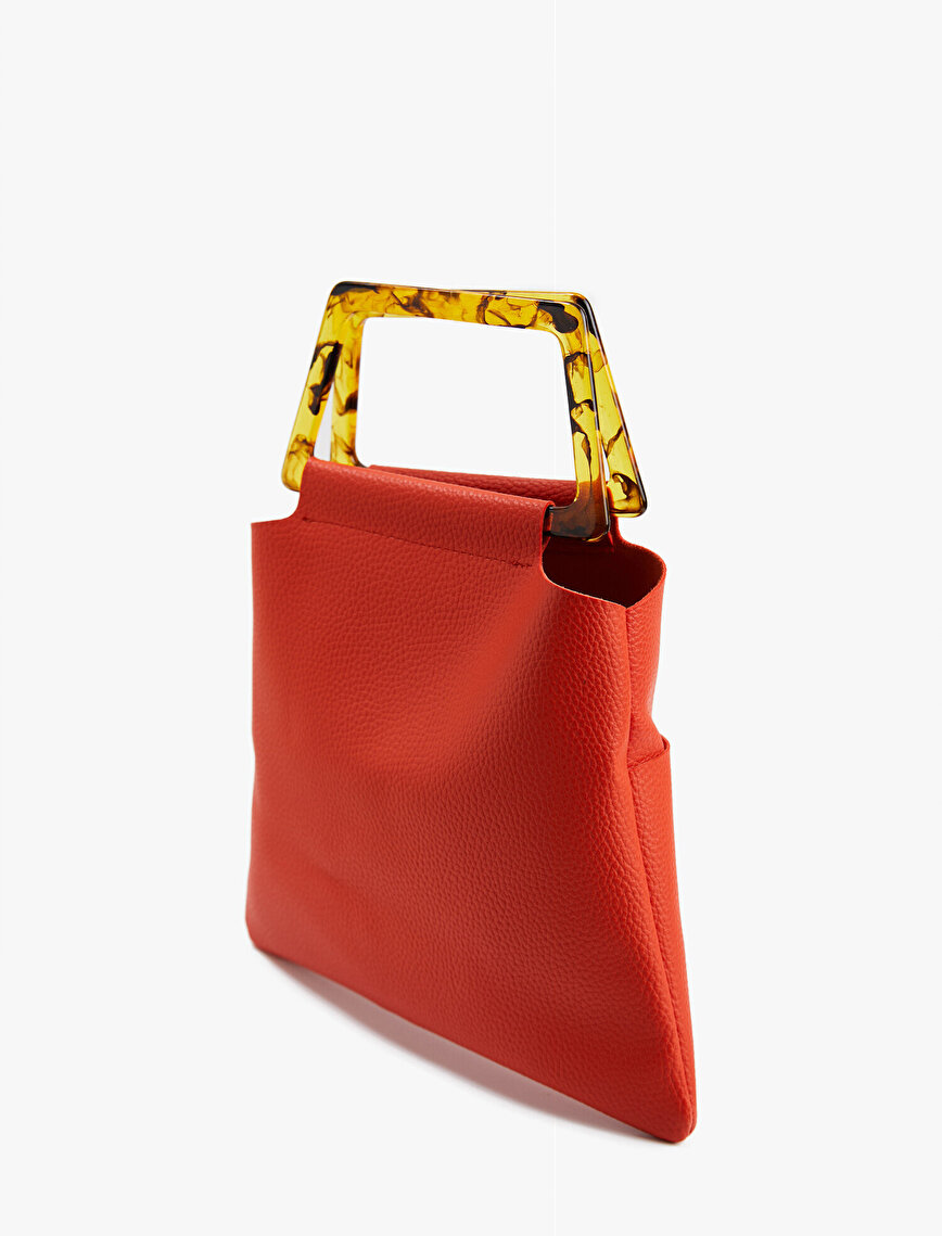 Leather Bag Tote Buckle Detailed