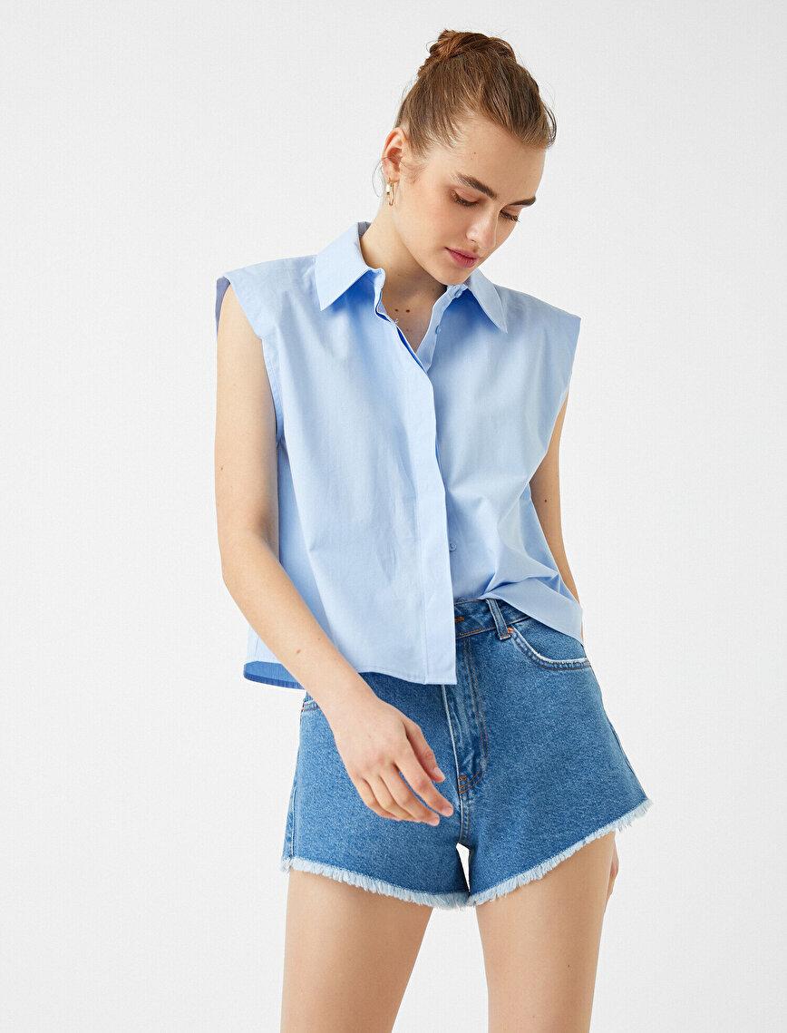 Poplin Vatkalı Gömlek Kolsuz