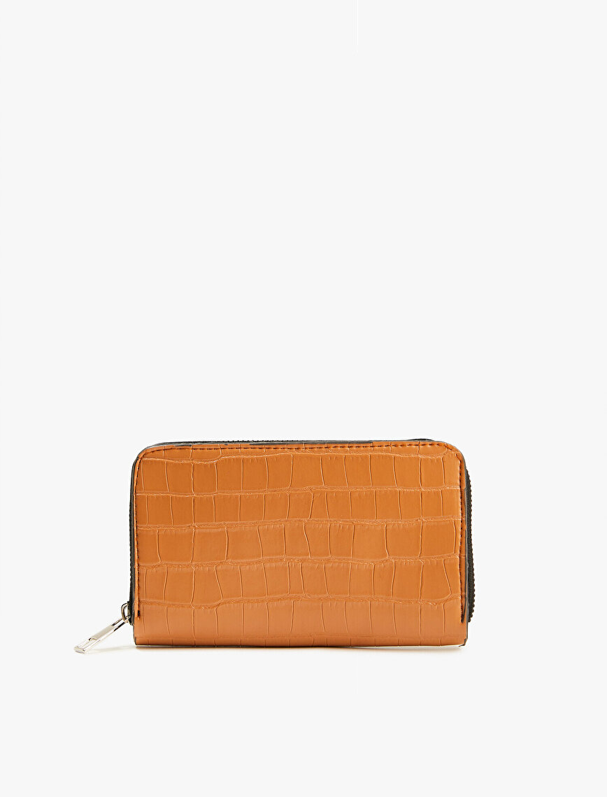 Leather Wallet Zipper Detailed Crocodile Textured