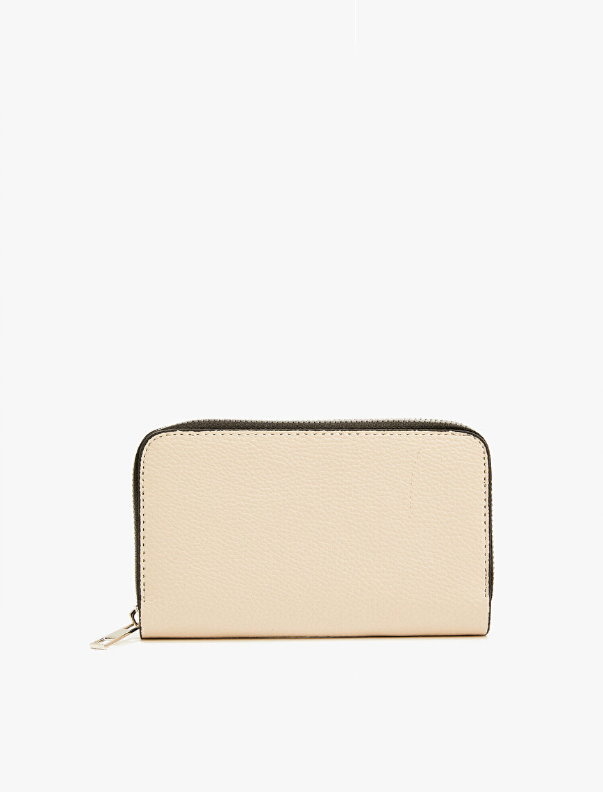Faux Leather Wallet Zipper Detailed