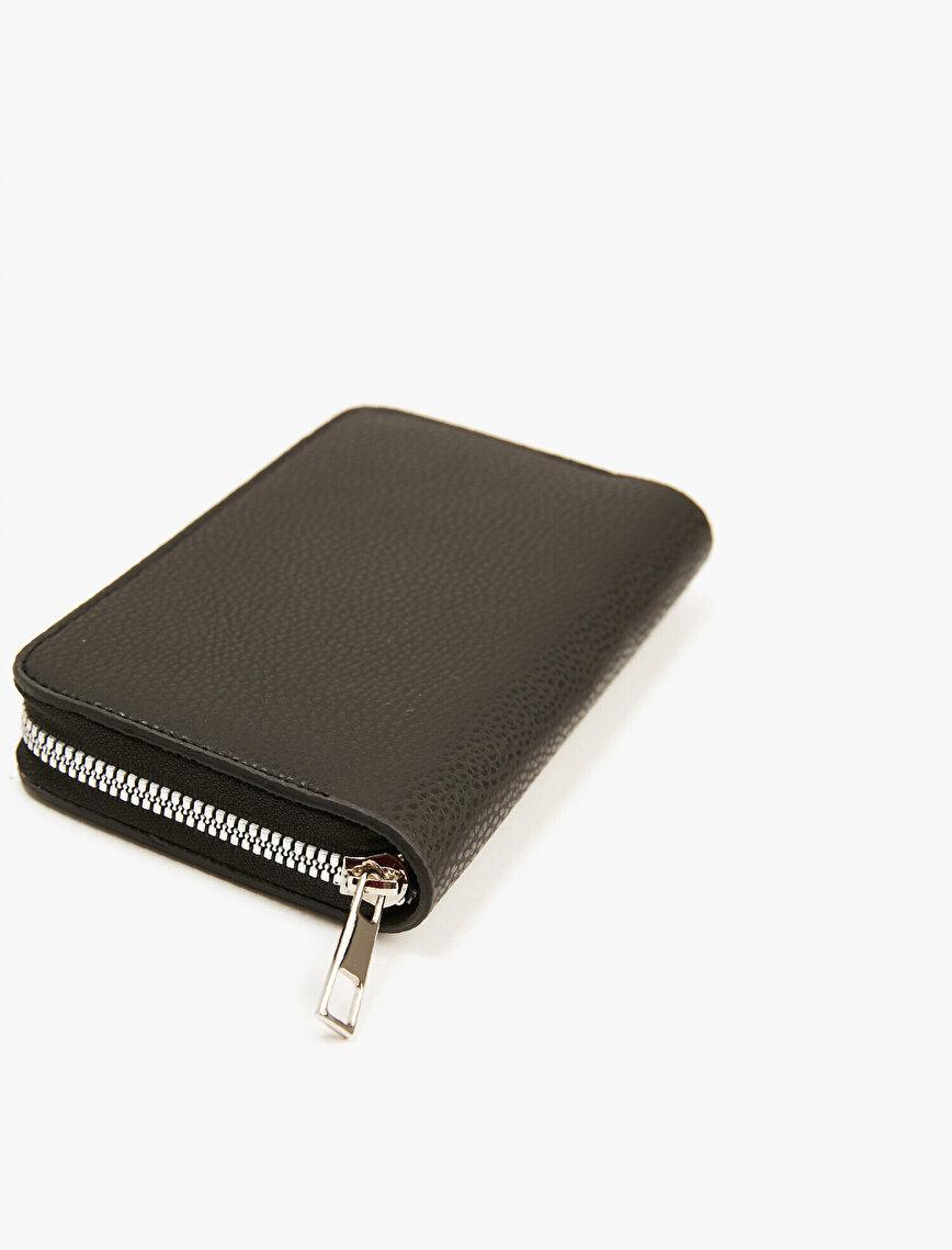 Faux Leather Wallet Zipper Detailed