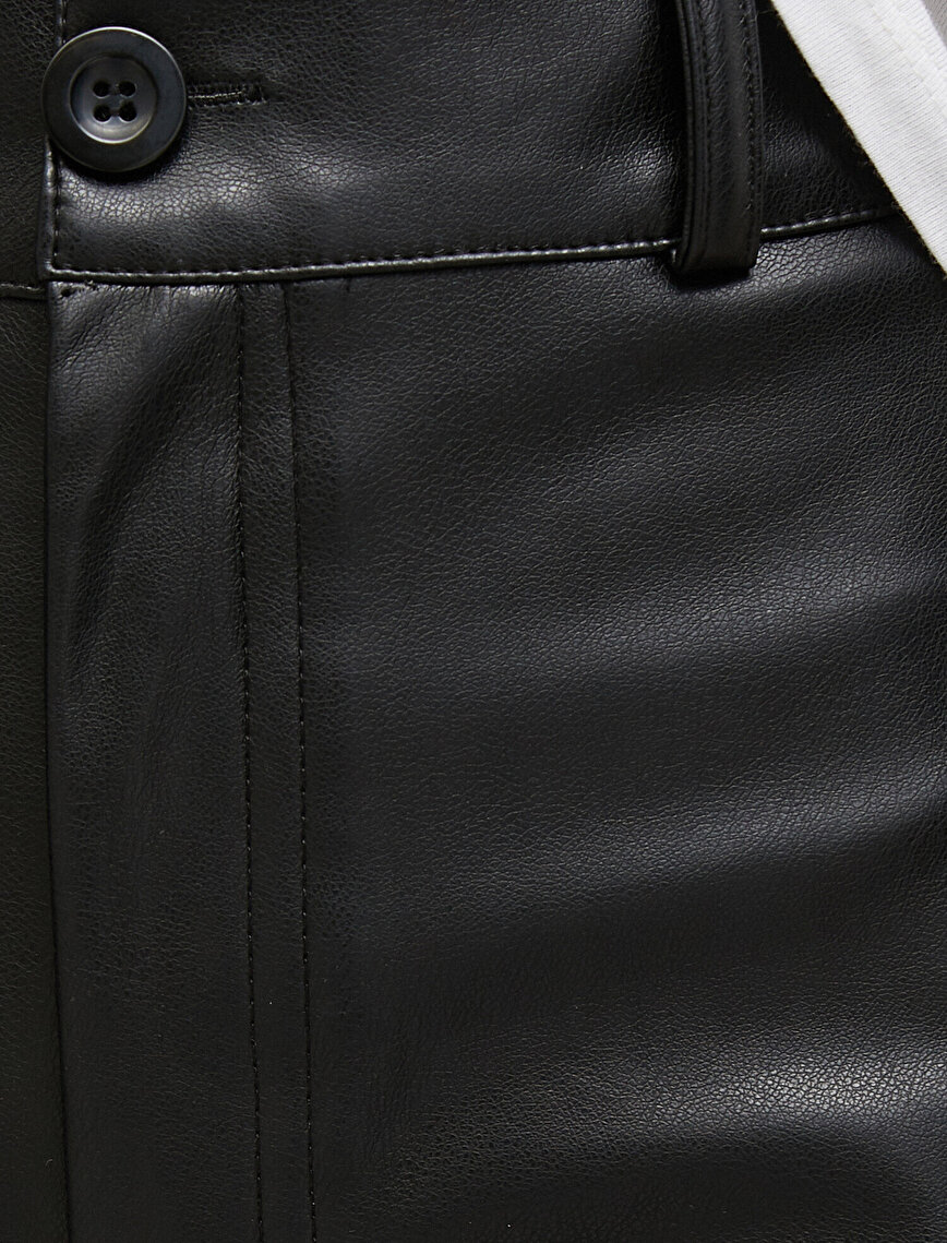 Leather Look Wide Leg Trousers