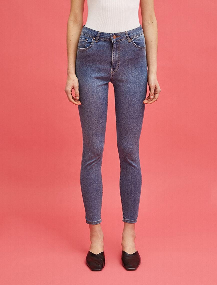 Pamuklu Carmen Jean - Yüksek Bel Dar Kesim Dar Paça Pantolon
