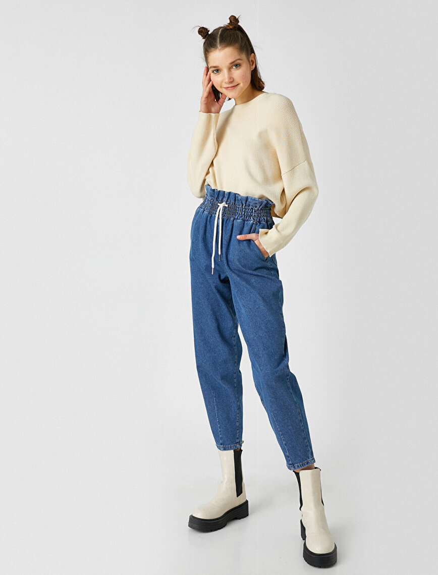 100% Cotton High Waist Drawstring Jeans