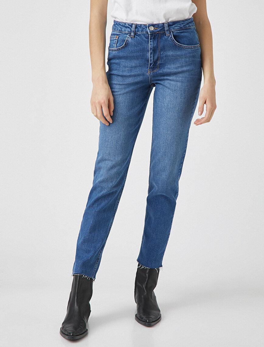 Pamuklu Mom Slim Jean - Yüksek Bel Hafif Dar Kesim Dar Paça Pantolon