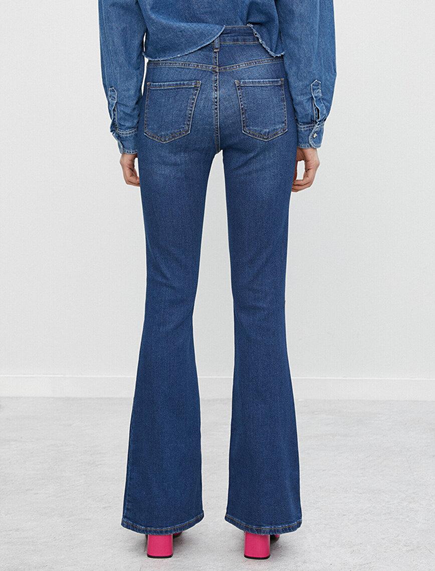 Pamuklu Yüksek Bel Victoria Jean - İspanyol Paça Pantolon