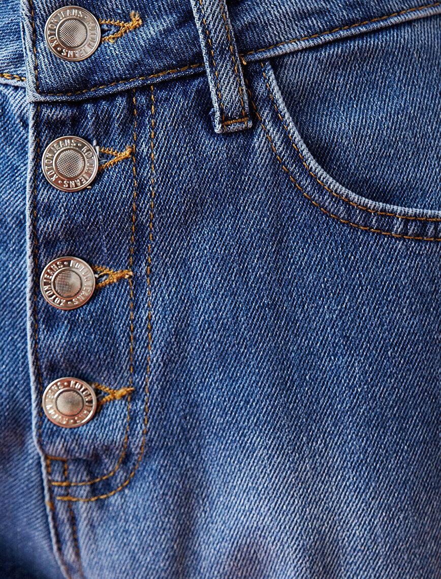 %100 Pamuk Düğme Detaylı Jogger Jean Pantolon