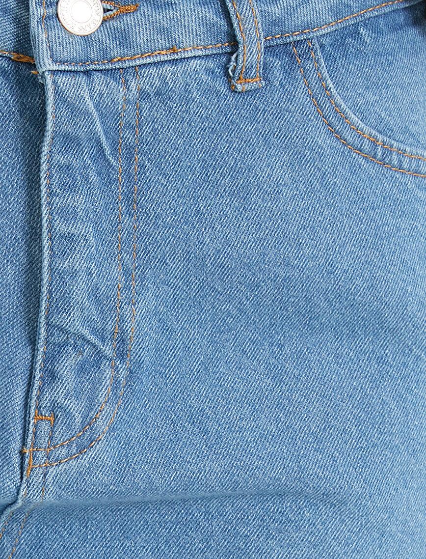 %100 Pamuk Yüksek Bel Mom Jean - Normal Bel Dar Kesim Dar Paça Pantolon