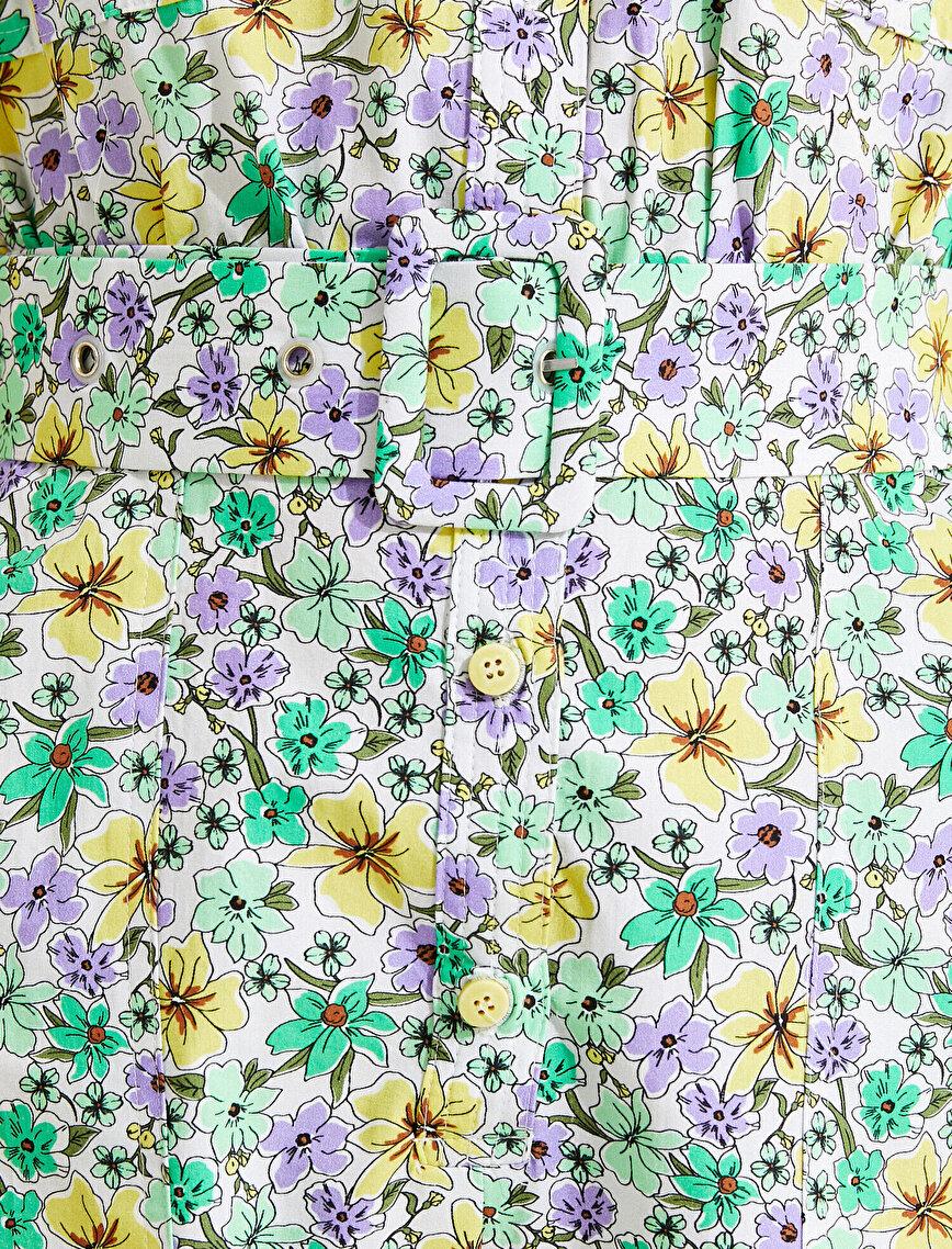 Çiçekli Tulum Gömlek Yaka Kemerli