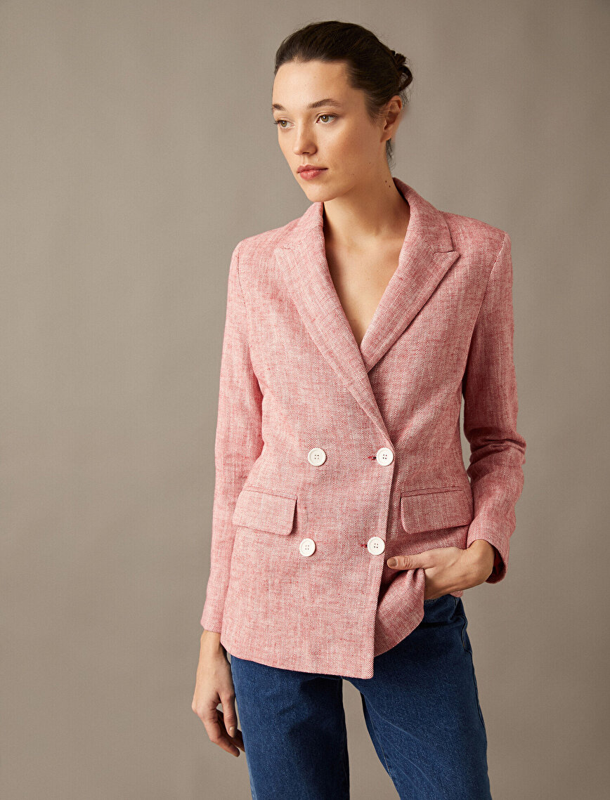 Button Pocket Detailed Suit Jacket